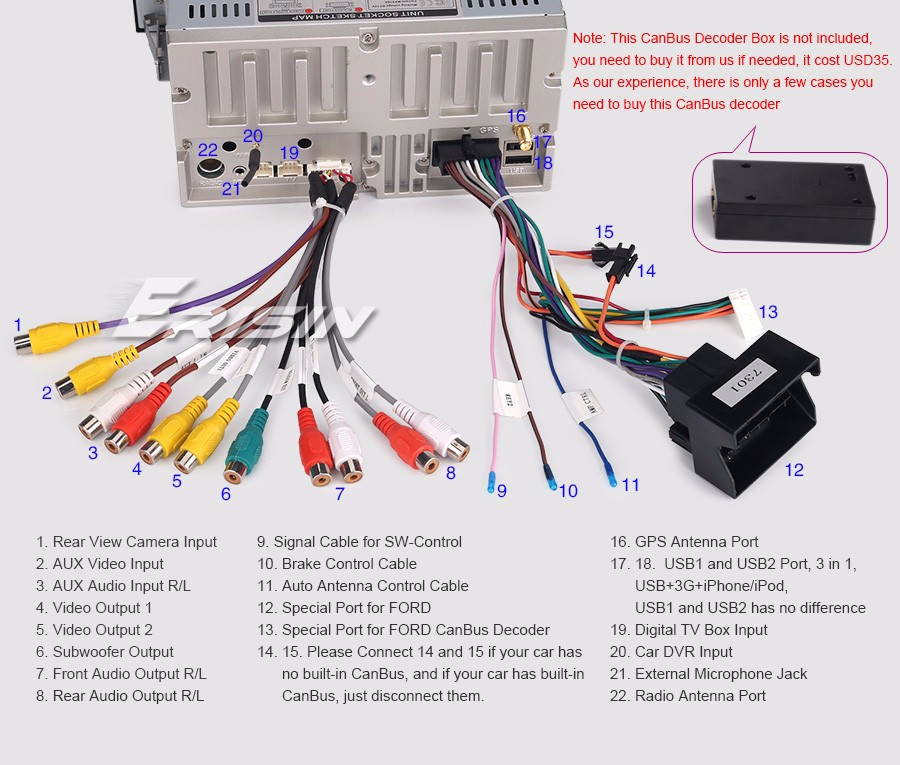 Car Dvd Gps Wiring Diagram : Quot android car gps dvd stereo for ford kuga mondeo