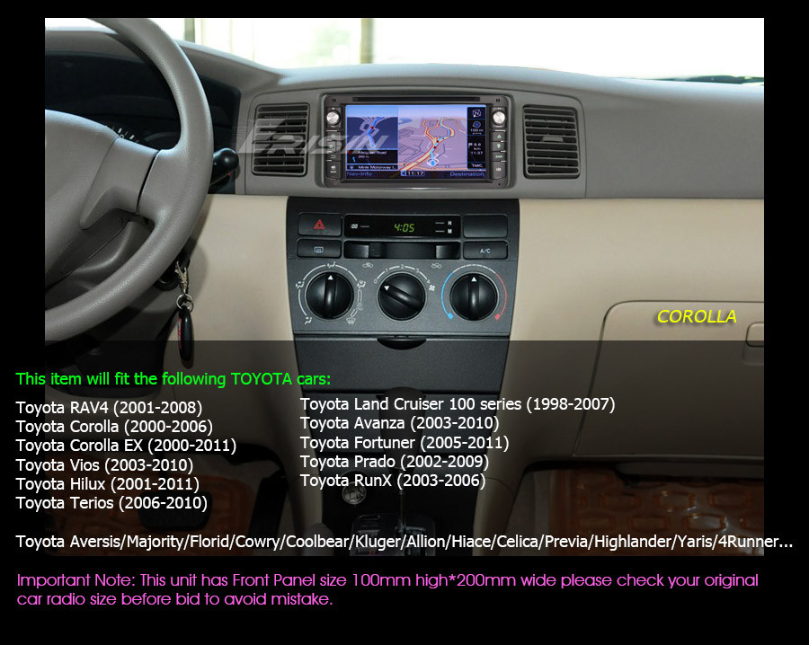 7 car dvd cd radio gps dab toyota corolla ex rav4 vios yaris prado rh ebay com toyota corolla car radio security code toyota corolla car radio manual