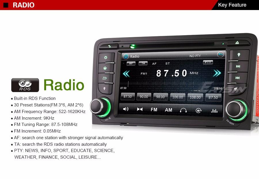 DAB+GPS Autorradio CD Navegación RDS DVR 3G Bluetooth TDT AUDI A3 S3 RS3 RNSE-PU