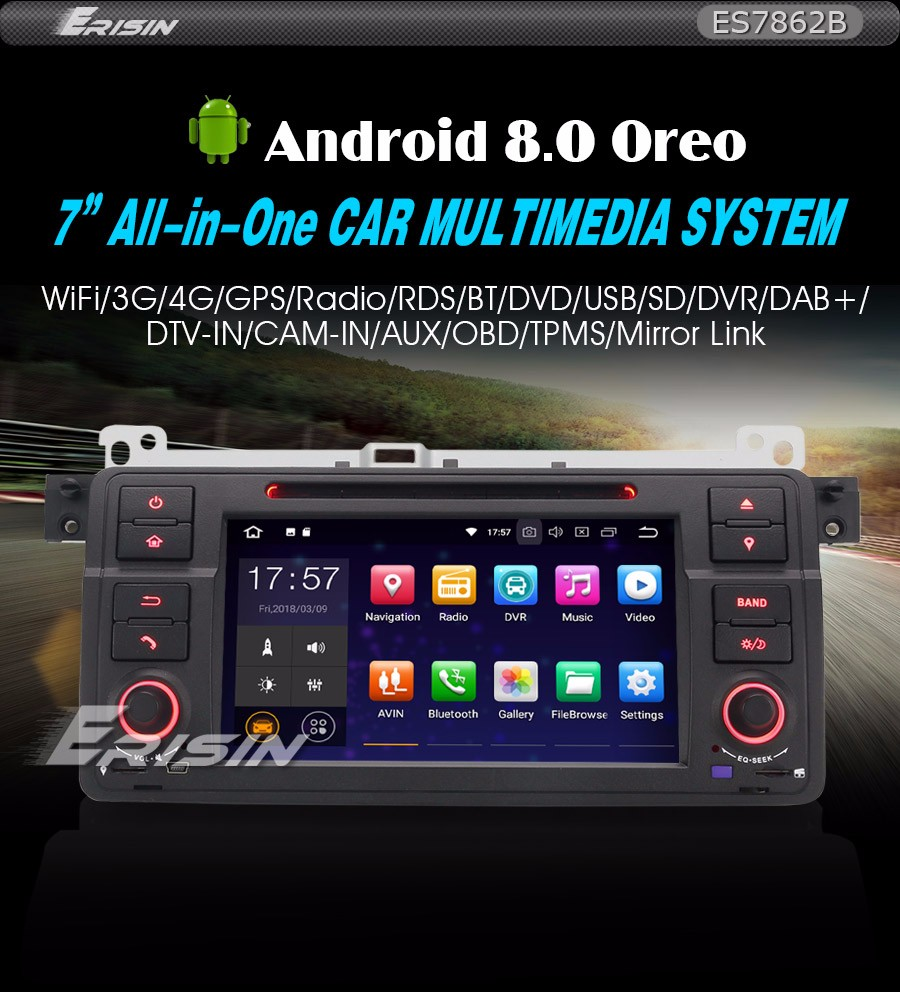 navigatore satellitare Canbus Screen mirroring funzione per BMW E46//320//325 Rover 75 MG ZT 4 G RAM Android 8.0 GPS Navigation octa-core capacitivo Touch Screen Car stereo Head Unit radio DAB
