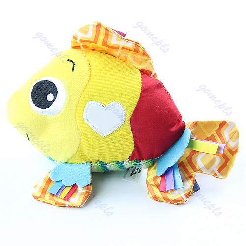 Funny Stuffed Plush Clown Fish Developmental Soft Loop Attach Crinkle Baby Toys
