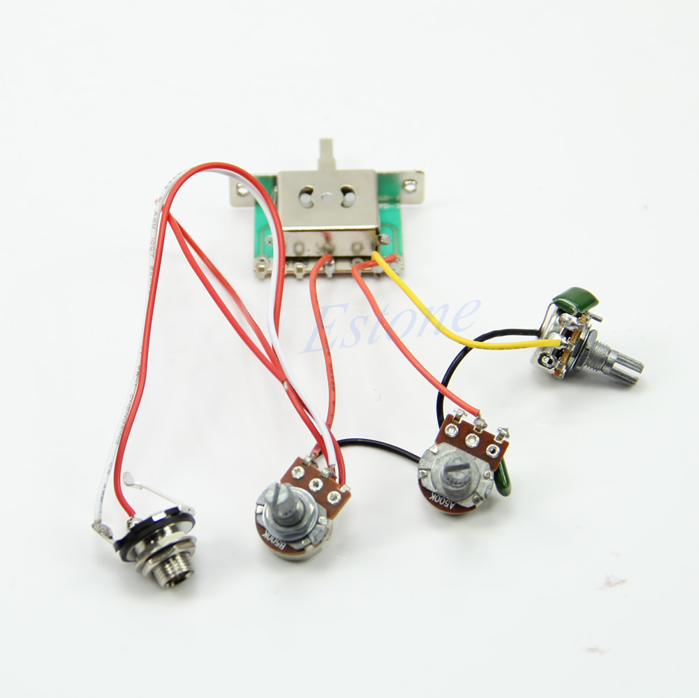 26811 2 new guitar wiring harness pickup 1v2t 5 way switch 500k pots for Drop in Strat Wiring Harness at creativeand.co