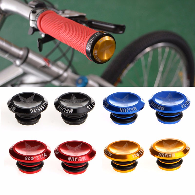 MTB Road Bike Handlebar Grip End Plugs Aluminum Alloy Bar Caps /& Rubber rings