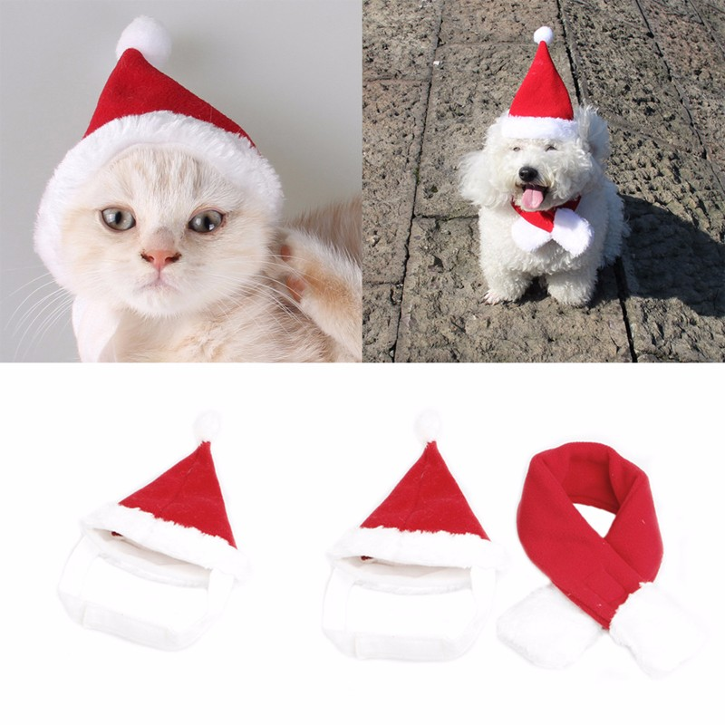 4f4a7ae26 Details about Pet Dog Cat Santa Hat Scarf Christmas Xmas Red Holiday  Costume Apparel Lovely