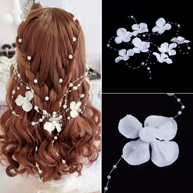 White Flower Pearl Bead Wedding Bridal Garland Frontlet Headpiece