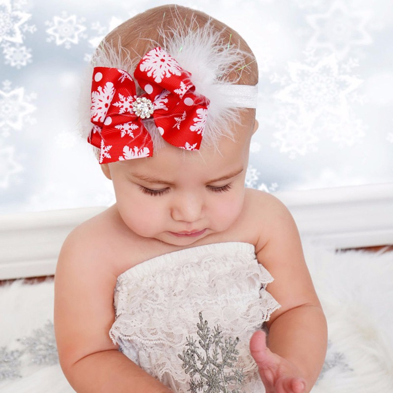 Christmas Headbands For Girls.Details About Christmas Baby Girl Toddler Bow Feather Headband Snow Flower Girls Hair Headwear