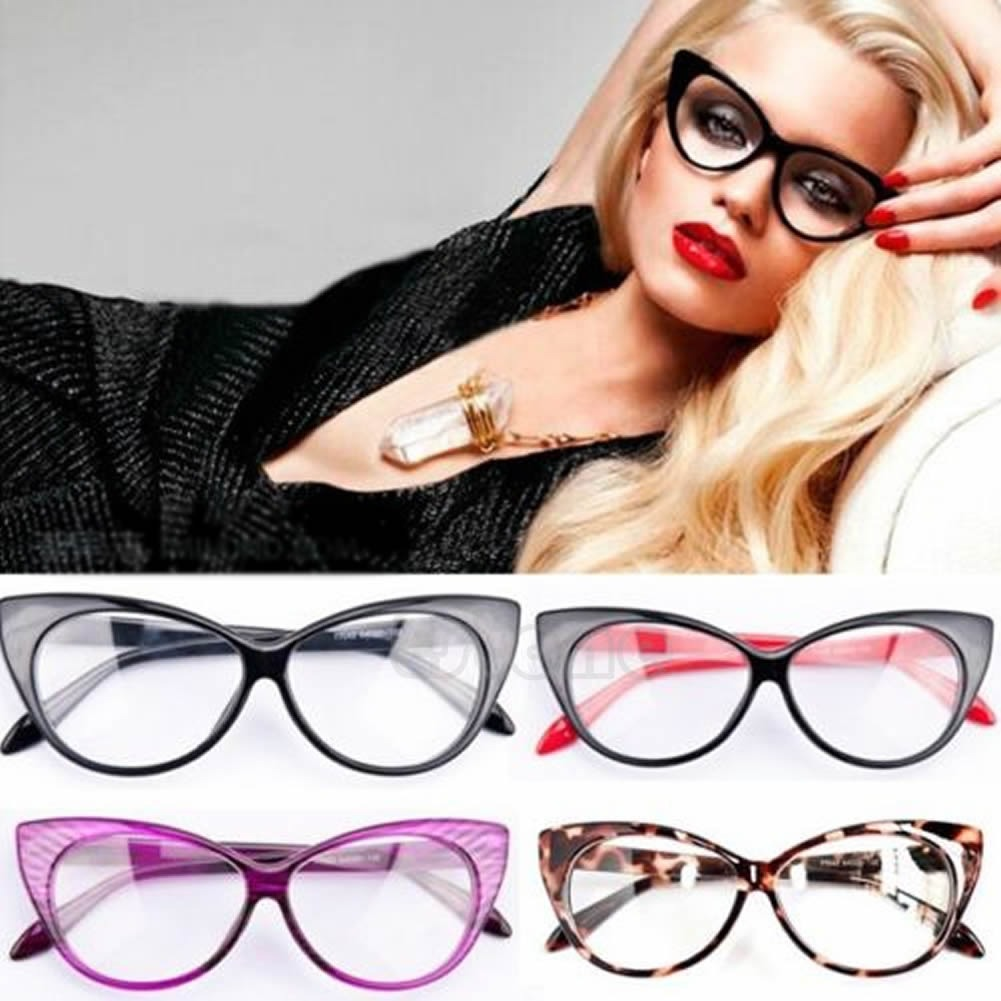 a112ca04e3 Retro Sexy Women Eyeglasses Frame Fashion Cat Eye Clear Lens ladies ...
