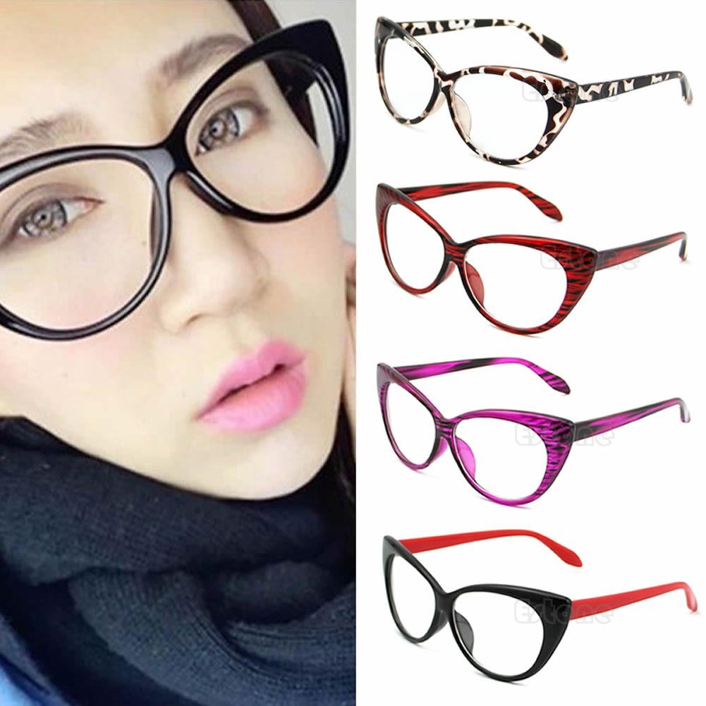 4807d37724e6 Women Retro Sexy Eyeglasses Frame Fashion Cat Eye Clear Lens ladies Eye  Glasses