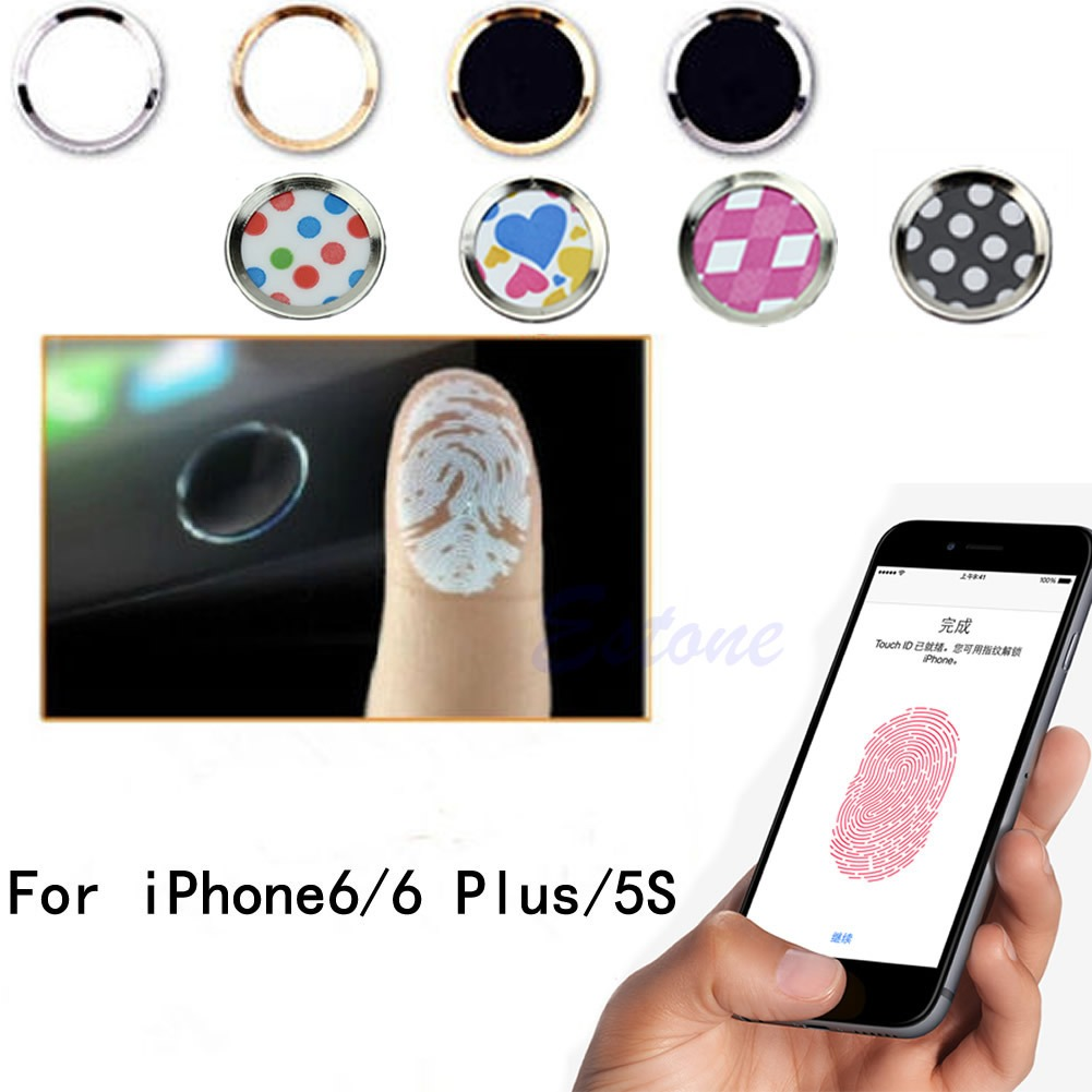 uk availability f0e8f 2b2fb Details about Aluminium Fingerprint Support Touch ID Home Button Sticker  For iPhone 5S 6 Plus