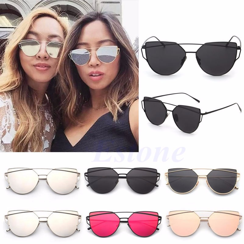 Women Mirrored Lenses Designer Sports Retro Vintage Cat Eye ... e91ec3ec11