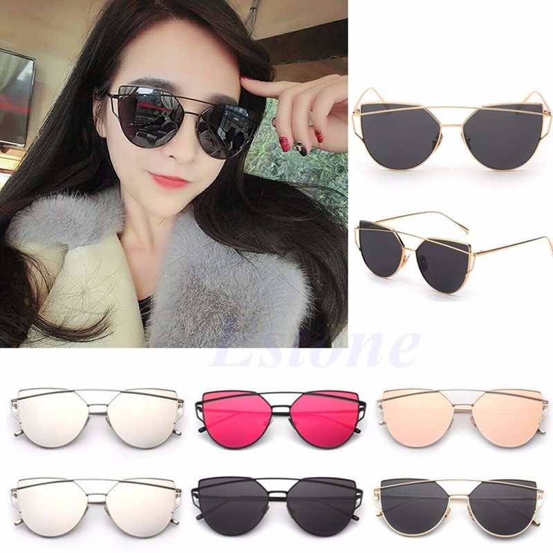 023db714357 Fashion Women s Gold Retro Cat Eye Sunglasses Classic Designer Vintage  Shades