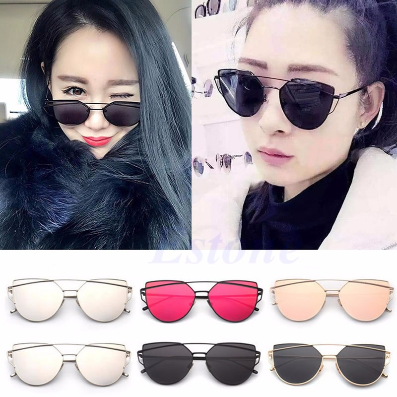 dea880addb Details about Vintage Retro Women s Rose Gold Cat Eye Designer Large  Mirrored Sunglasses