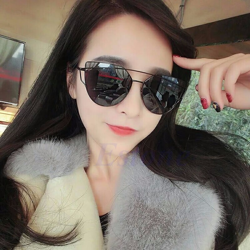 Women Mirrored Lenses Oversized Sunglasses Designer Sports Cat Eye Retro  Vintage  1441b574f5