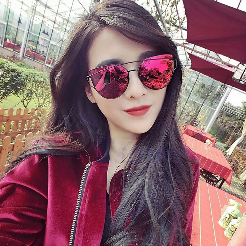 42bdf07711f0 Details about Fashion Women s Gold Retro Cat Eye Sunglasses Classic Designer  Vintage Shades