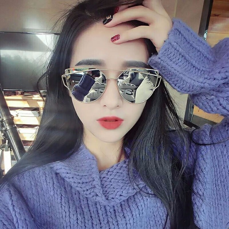b379c735ae Women s Retro Cats Eye Sunglasses Flat Lens Mirror Metal Frame Oversized  Shades