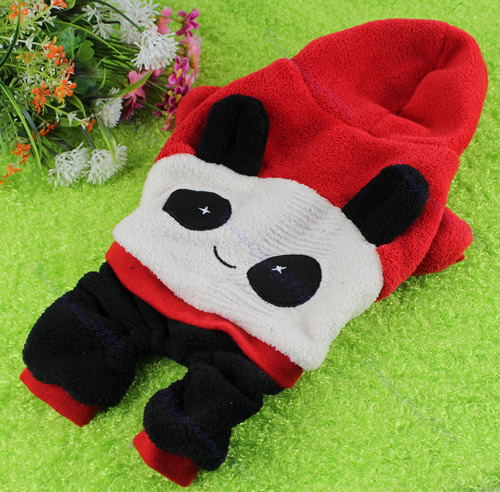 Cute Panda Coral Fleece Dog Clothes Puppy Pet Hoodie Soft Warm