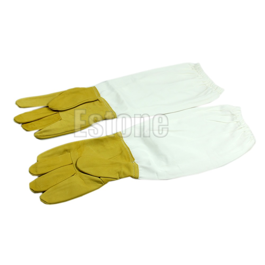 Pair Protective Beekeeping Vented Long Sleeves Gloves Goatskin XL US STOCK