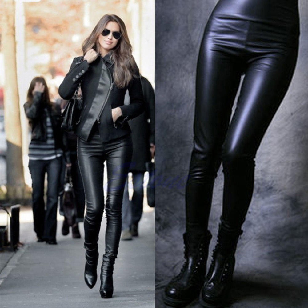 enjoy lowest price diversified latest designs hot-selling real Details about Fashion Sexy Lady Women High Waist Black Stretchy Faux  Leather Pants Leggings