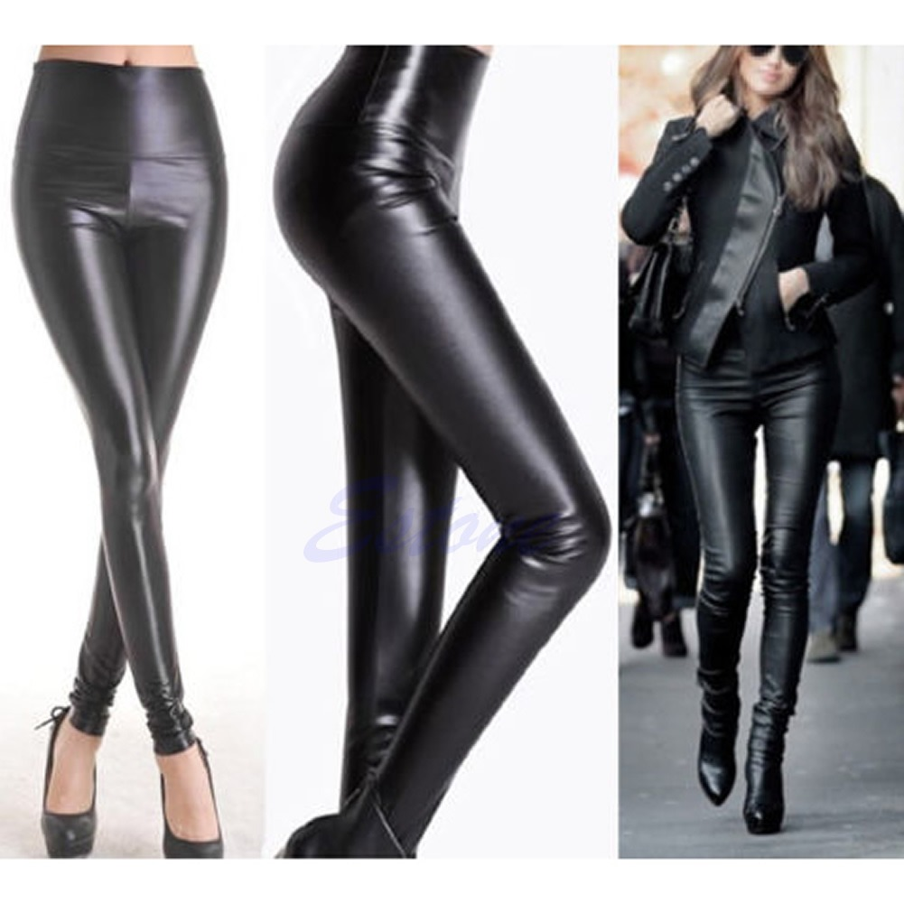 472f3fb55d Lady High Waisted Women's Faux Leather Sexy Skinny Stretch Pants ...