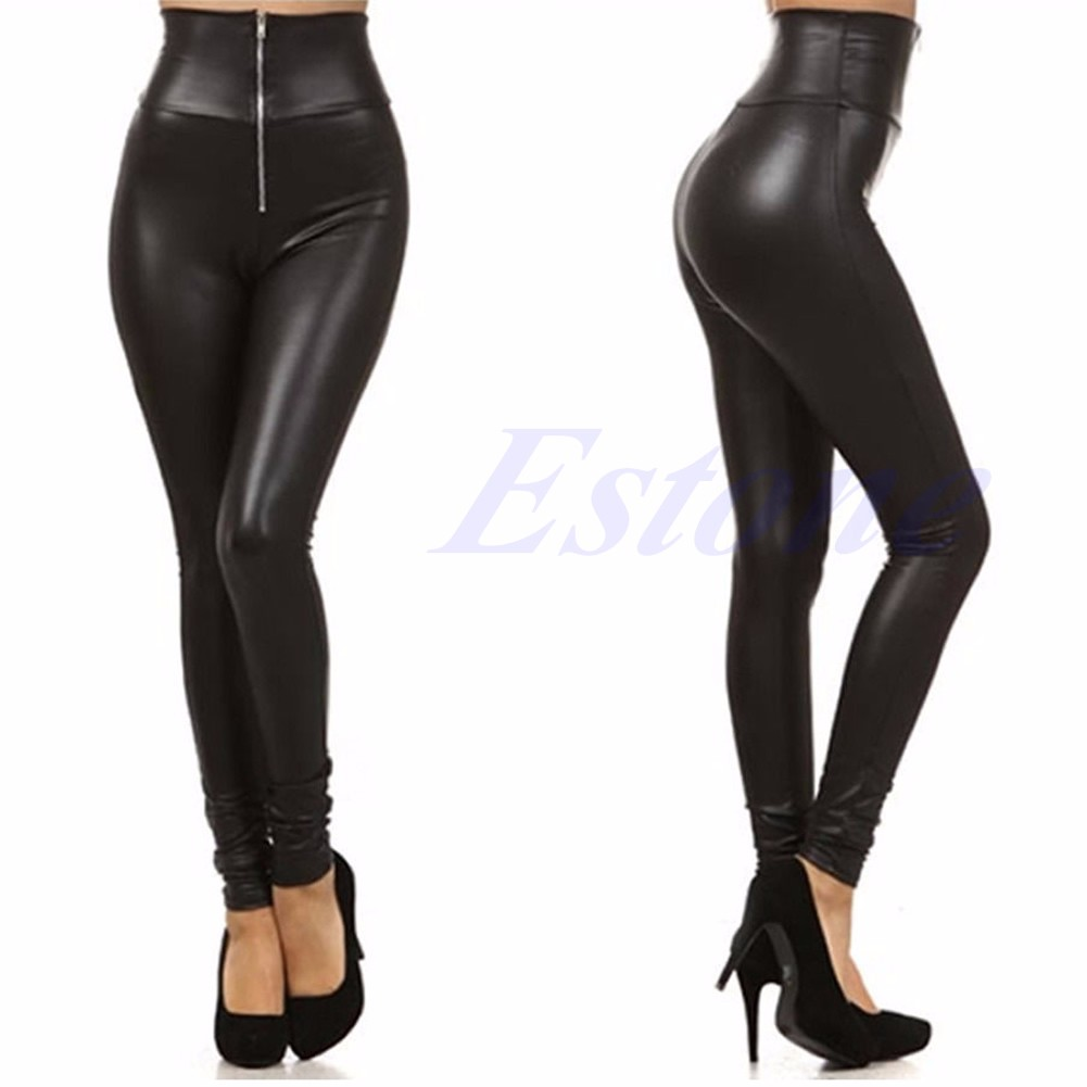 latest style wide selection of colours and designs new appearance Details about NEW THICK Leather Wet Look Faux Leggings Skinny Shiny Bodycon  High Waisted Pants
