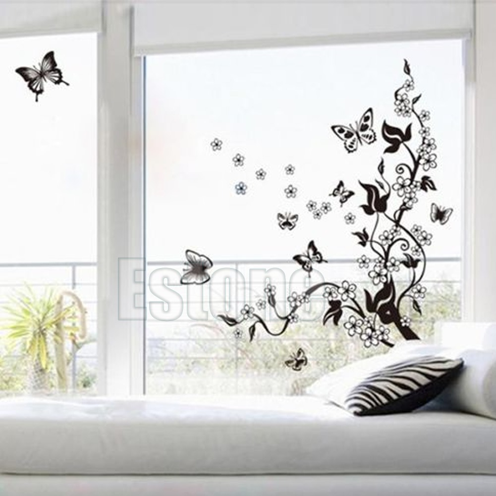 New butterfly flower removable home wall sticker diy art vinyl 664239256500 amipublicfo Images