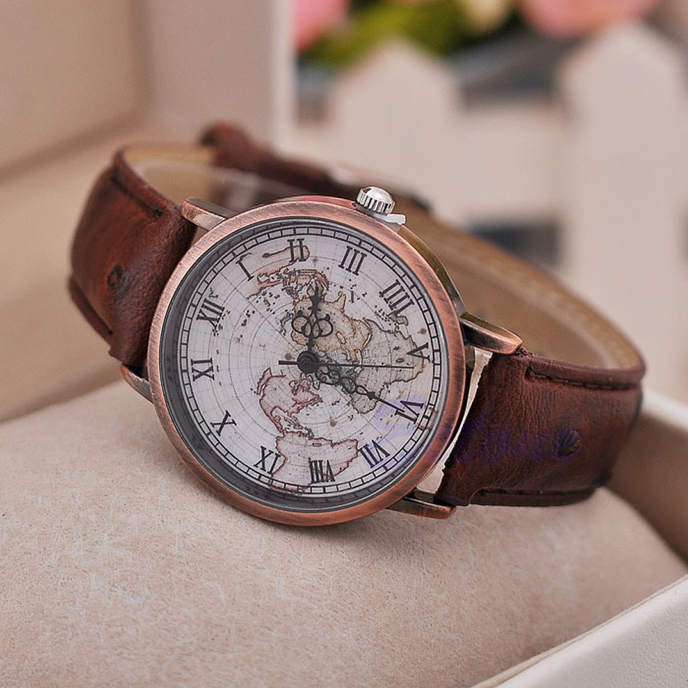 Fashion men women roman numbers world map globe retro faux leather fashion men women roman numbers world map globe retro faux leather quartz watch ebay gumiabroncs