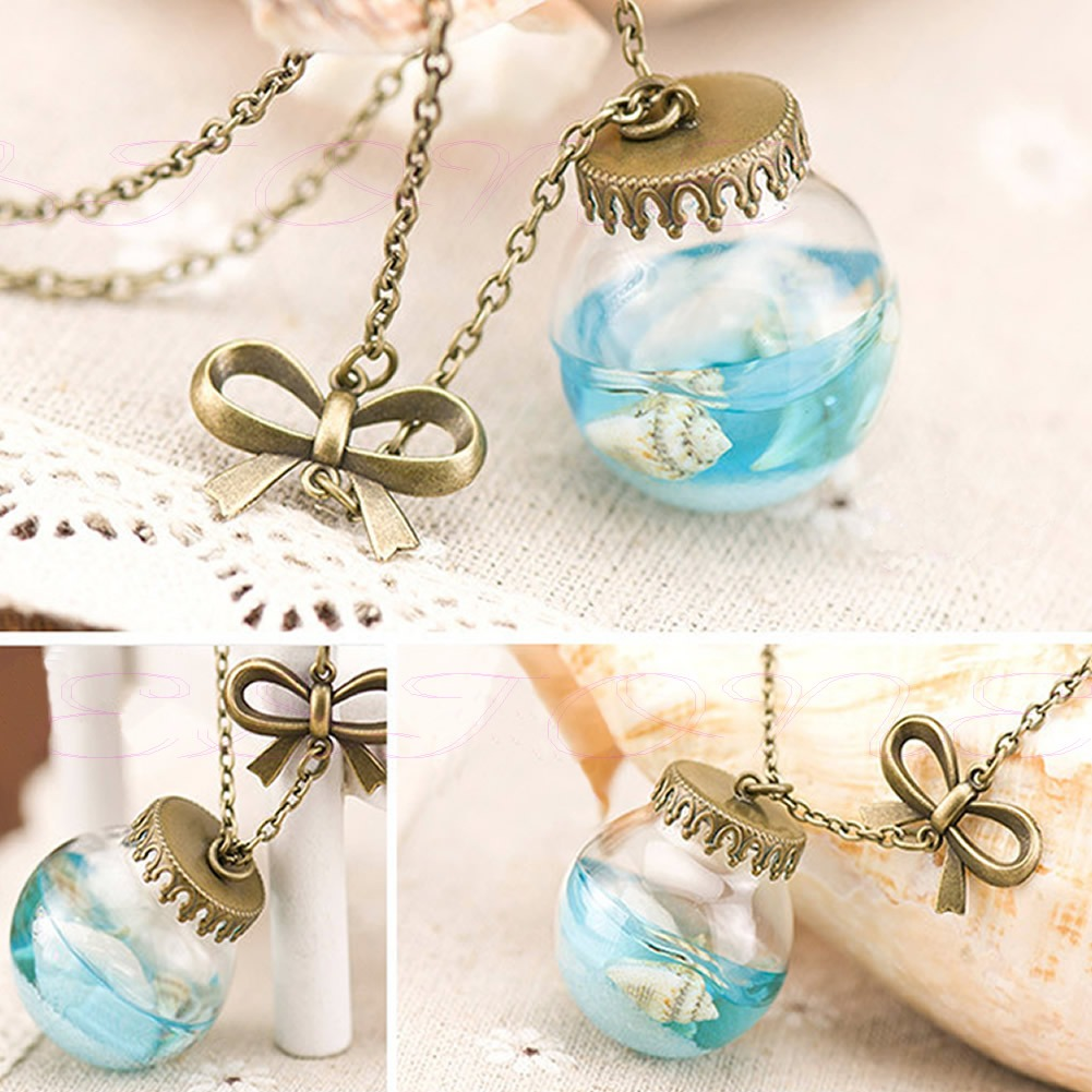Fashion sea ocean glass bottle pendant mermaid tears shells star categories mozeypictures Choice Image