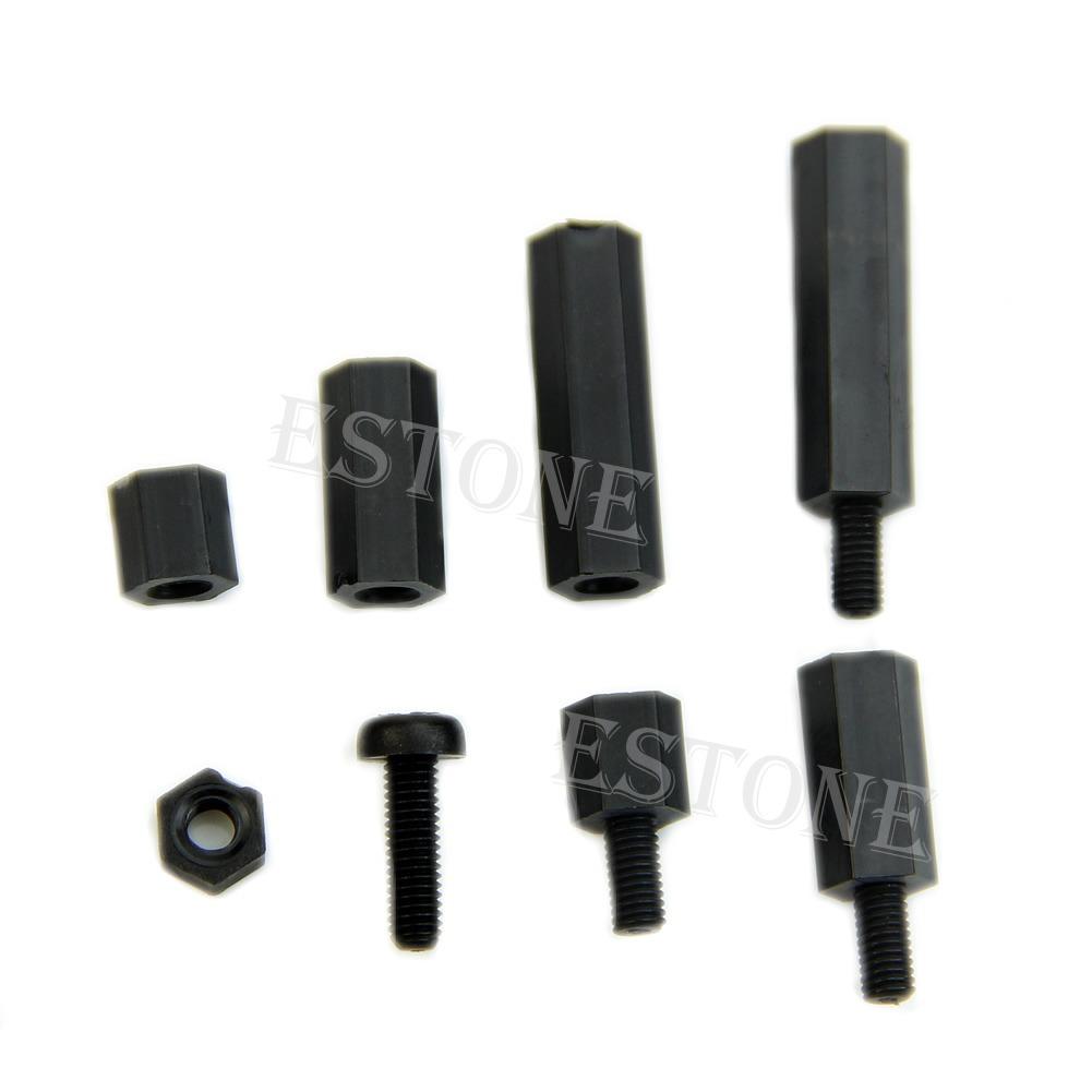 160x M3 Nylon Black Hex F-F Spacers Screw Nuts Assorted Assortment Kit Standoff