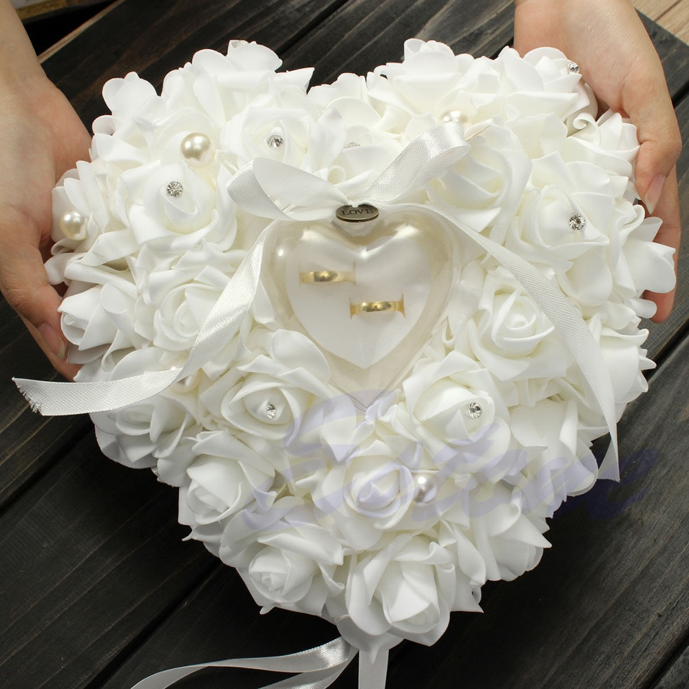 New Elegant Rose Wedding Favors Heart Shaped Design Gift Ring Box