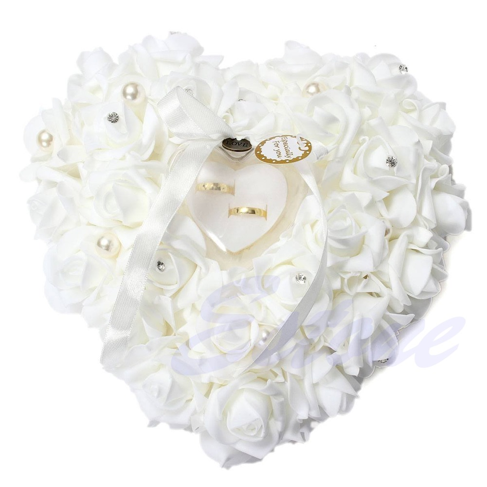 NEW Romantic Pearl Rose Wedding Favors Heart Shaped Gift Ring Box ...