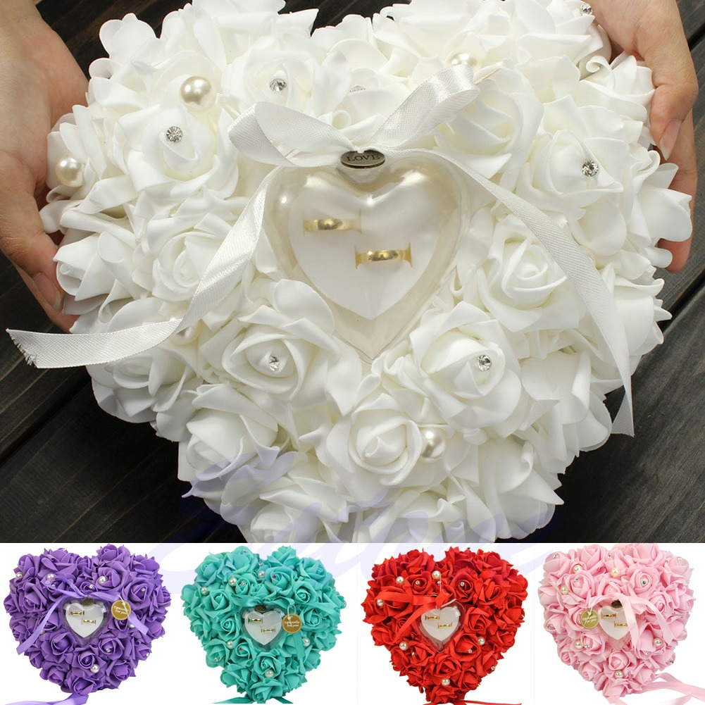 Romantic Rose Wedding Favors Heart Shaped Jewelry Gift Ring Box