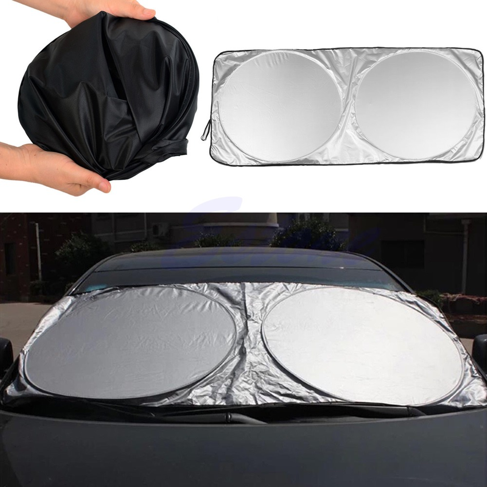 Details about Window Sun Shade Foldable Jumbo Car Windshield Auto Visor  Cover Block Front Rear 88767a9af95