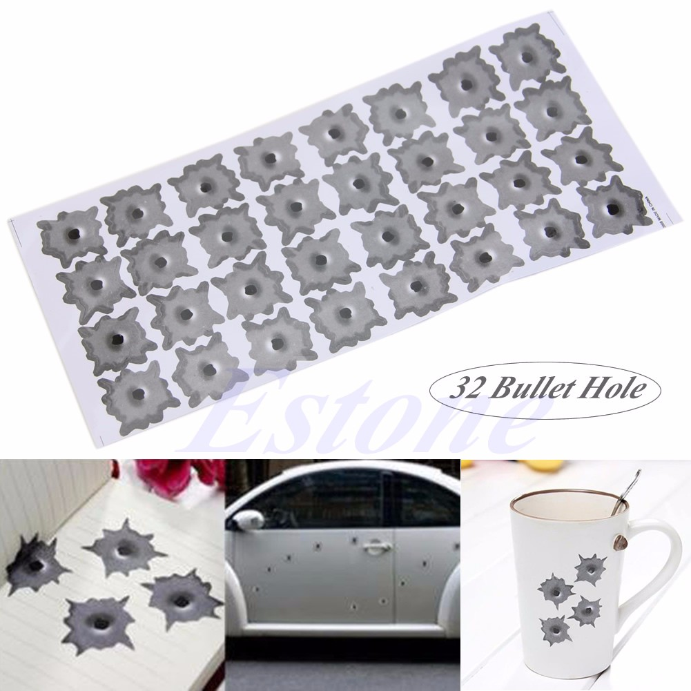 1x Car 32 Bullet Hole Orifice Sticker Graphic Decal Shothole Helmet Window Kit