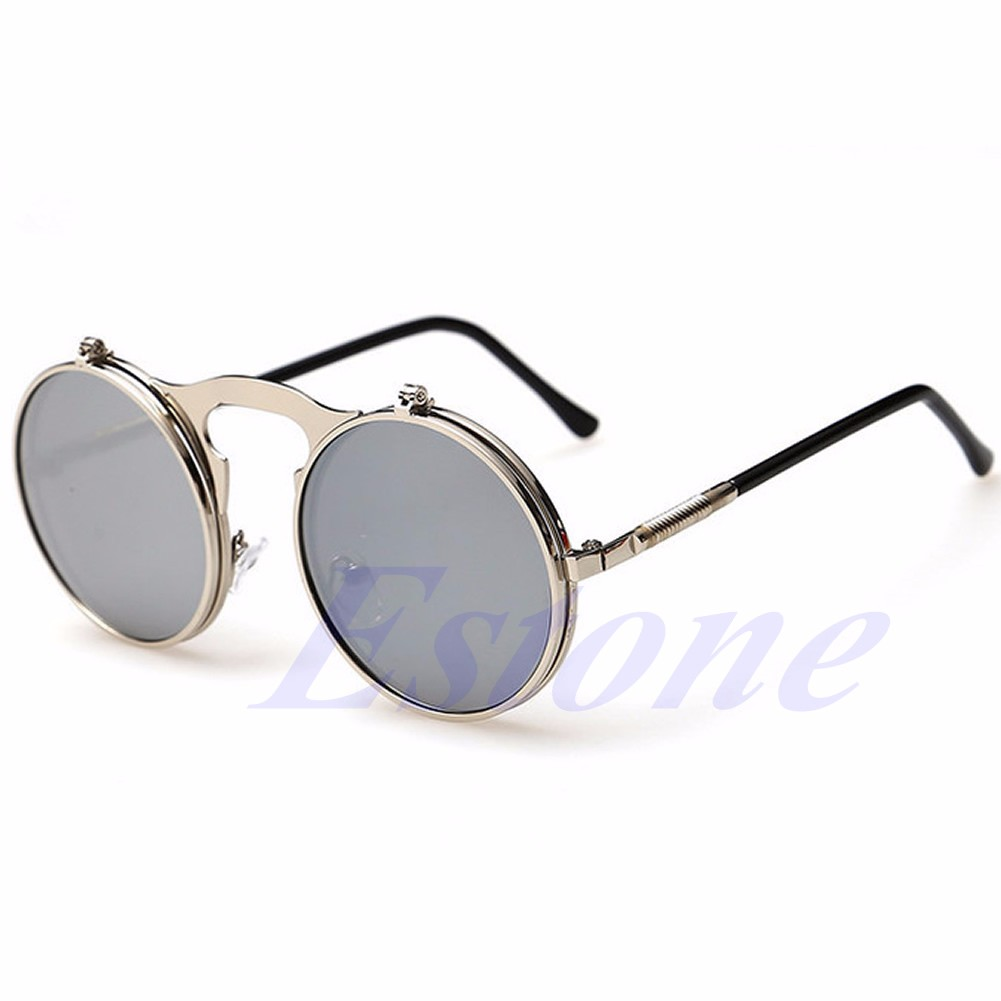 05badc42d1 NEW Men Women Vintage Round Metal Frame Flip Up Sunglasses Glasses Eyewear  Lens