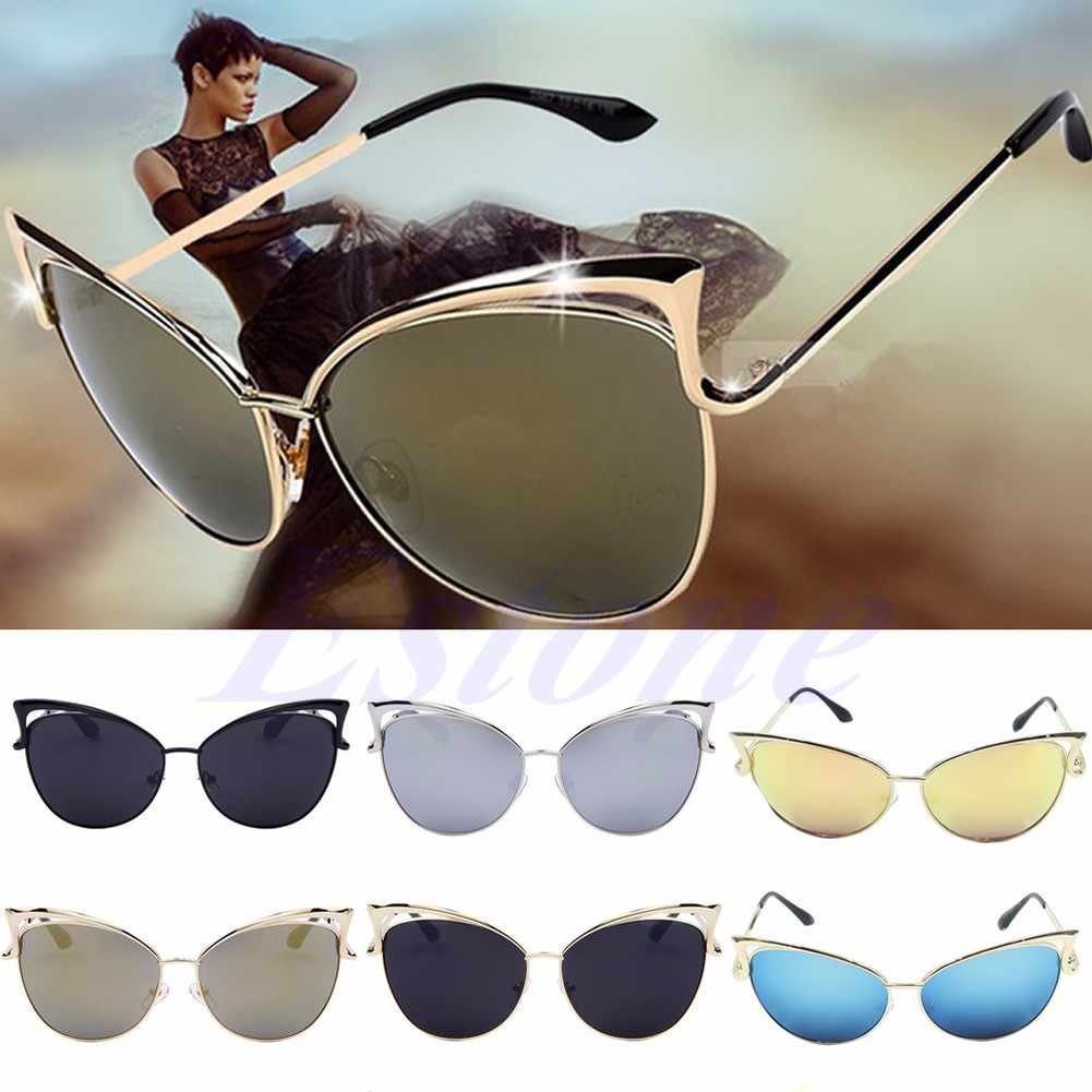 e58ea1aadf Details about New Womens Retro Vintage Cat Eye Sunglasses Metal Frame  Oversized Shades Glasses