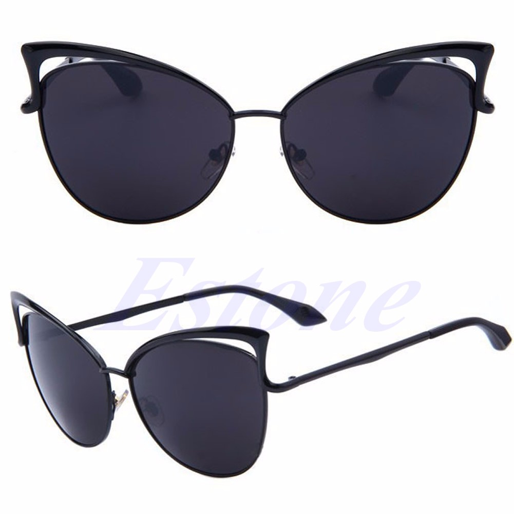 87b5840ec Women's Gold Retro Cat Eye Sunglasses Classic Designer Vintage Fashion  Shades | eBay
