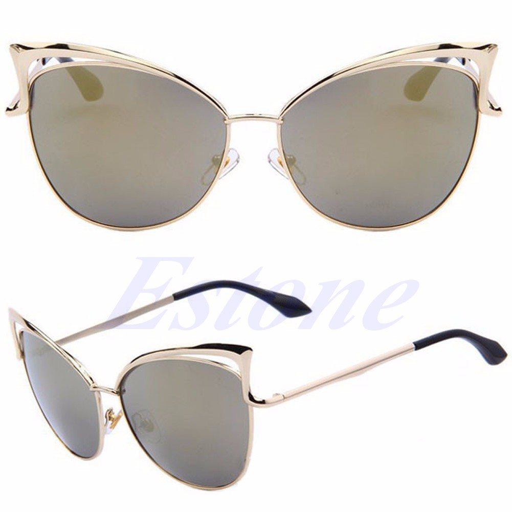 a2f7526fb75 Women s Gold Retro Cat Eye Sunglasses Classic Designer Vintage Fashion  Shades