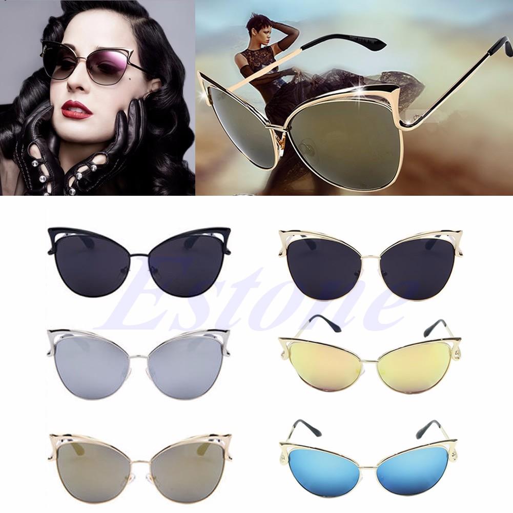 b67606d82 Retro Women's Gold Cat Eye Sunglasses Classic Designer Vintage ...