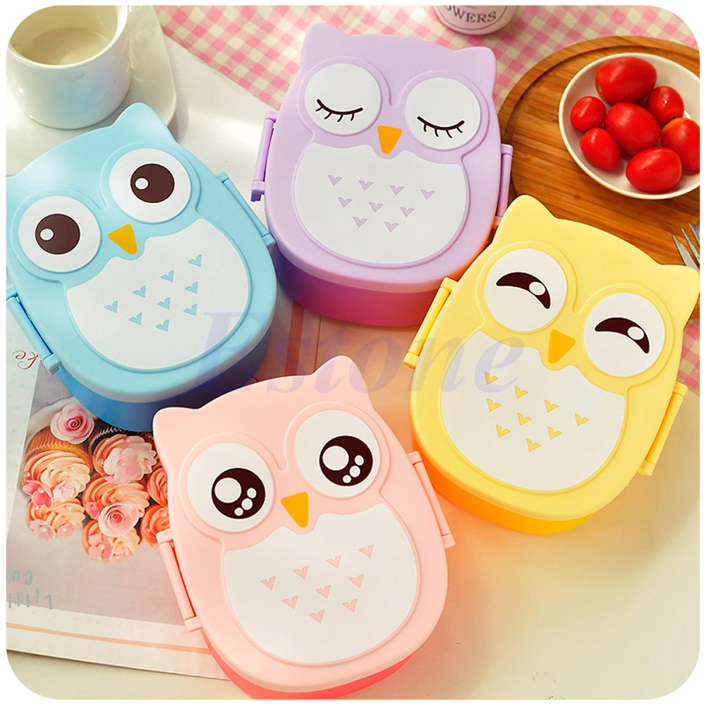 cute cartoon owl lunch box food container storage box portable bento box spoon ebay. Black Bedroom Furniture Sets. Home Design Ideas