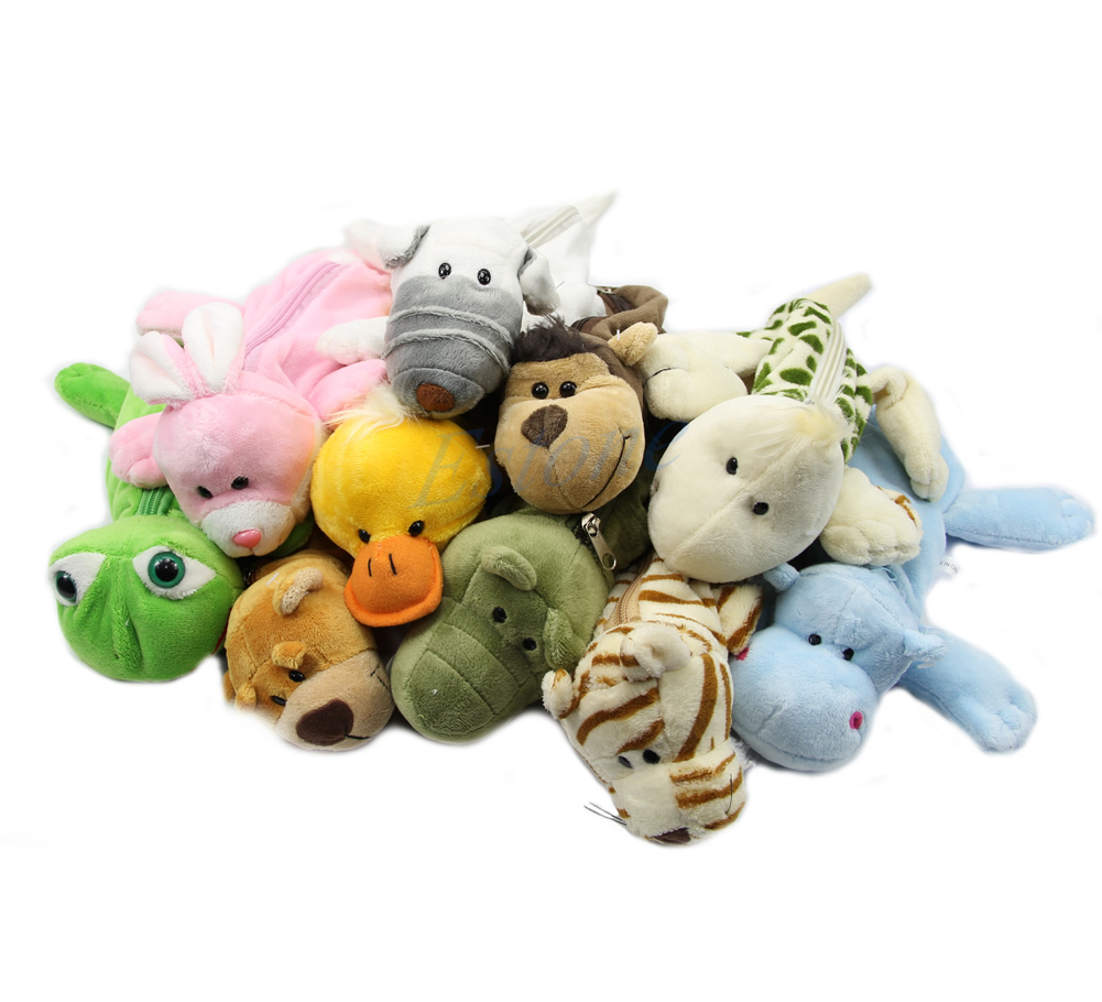 Plush Cartoon Fluffy Animal Pencil Pen Case Makeup Bag ...