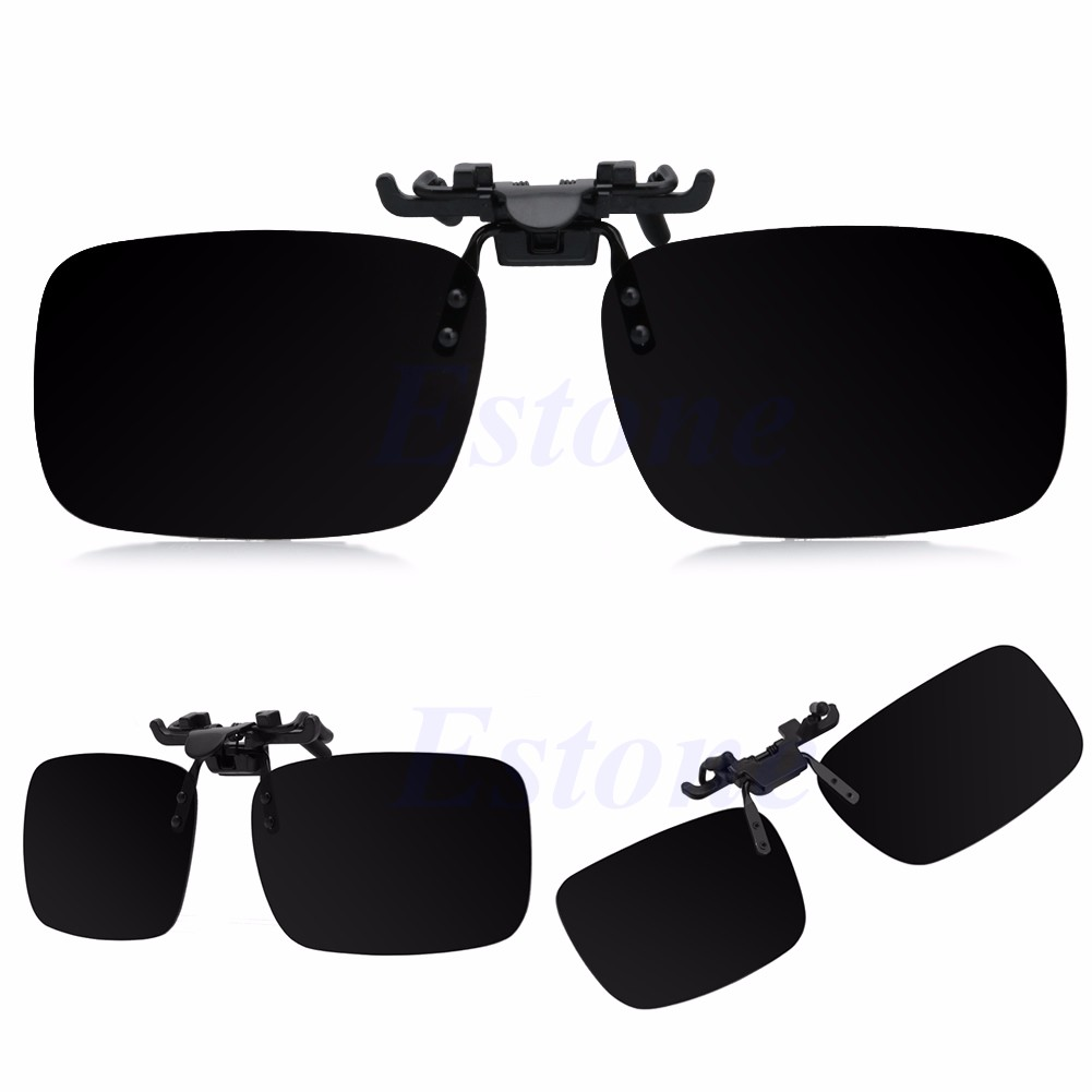 61a1821c81 Polarized Clip-on Flip-up Lens Day Night Vision Driving Glasses New  Sunglasses