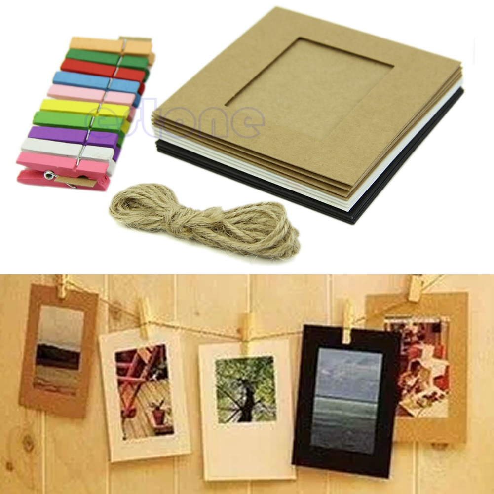 10 Pcs Hanging Paper Frame Photo Album String Art Clips Rope ...