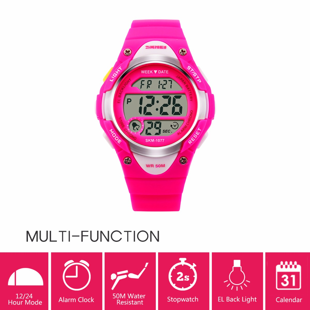 Watches Precision Digital Lcd Kids Girls Fashion Wristwatch Cute Pink Pu Strap 50m Waterproof Child Watches Alarm Clocks Stopwatch Al