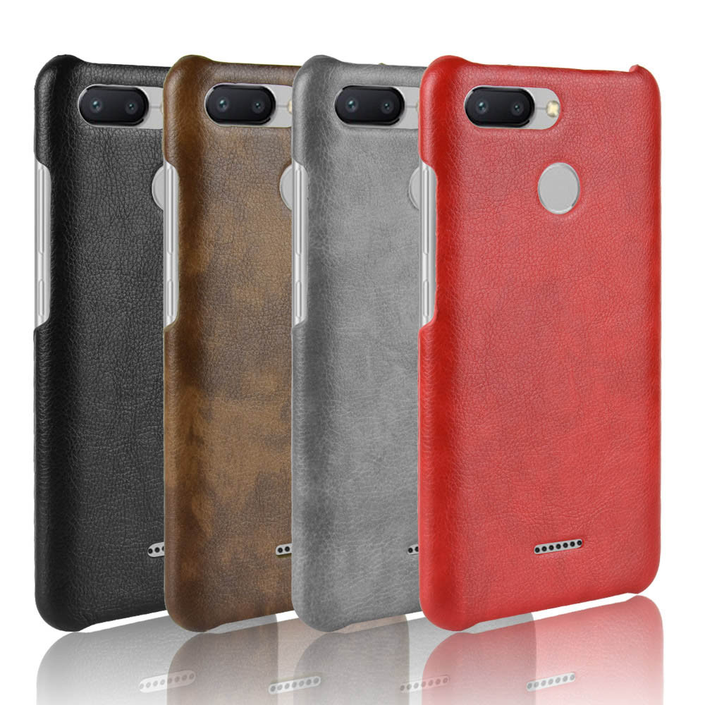 more photos 59688 08886 Details about For Xiaomi Redmi 6 6A Retro leather Fabric Coated Design hard  case back cover