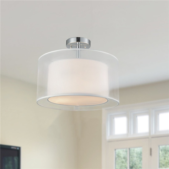 Modern semi flush mount ceiling light with white organza drum shade 1 contemporary white tc fabric drum shade ceiling light 2 lights aloadofball Choice Image