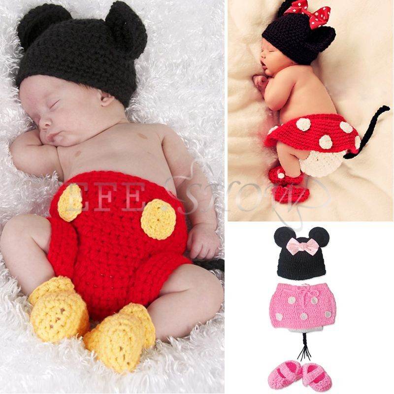 neugeborene minnie mickey mouse baby jungen strick set kost m m tze fotoshooting ebay. Black Bedroom Furniture Sets. Home Design Ideas