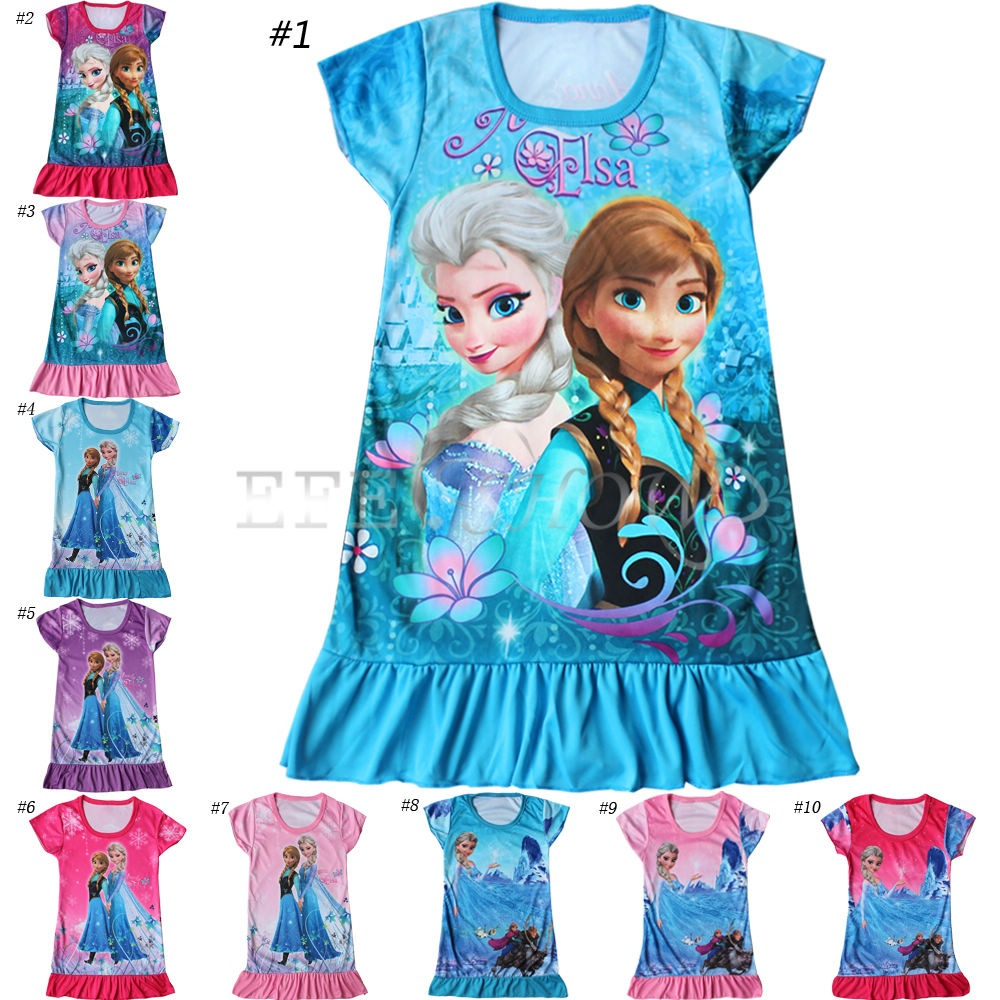 frozen eisk nigin anna elsa tunika kleid sommer kost m. Black Bedroom Furniture Sets. Home Design Ideas