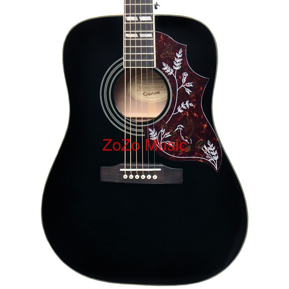 gibson epiphone hummingbird ebony black 6 string dreadnought acoustic guitar ebay. Black Bedroom Furniture Sets. Home Design Ideas