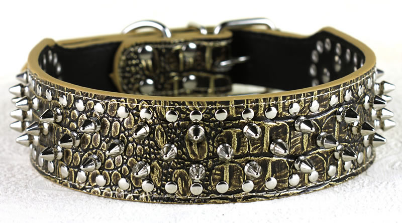"""Hot New 2"""" Wide 15 24"""" Full Colors Spiked Studded Leather Dog Collars"""