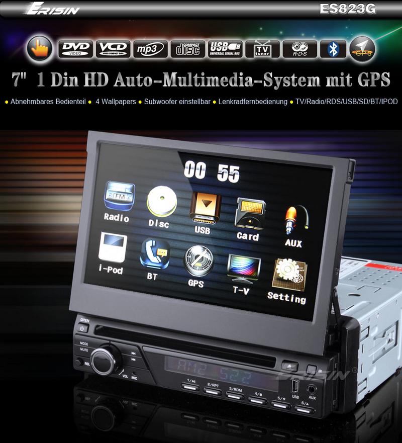 Erisin ES823GD 7 HD Autoradio DVD player touch screen TV GPS BT RDS